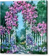 Rose-covered Trellis Acrylic Print