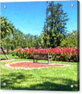 Rose Garden Benches Impressionist Digital Painting Acrylic Print