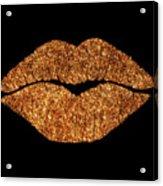 Rose Gold Texture Kiss, Lipstick On Pouty Lips, Fashion Art Acrylic Print