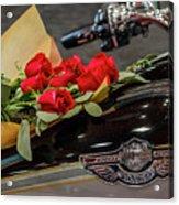 Harley Davidson And Roses Acrylic Print