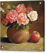 Roses And Apple Acrylic Print by Han Choi - Printscapes