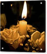 Roses And Candle Acrylic Print