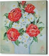 Roses And Daises Acrylic Print