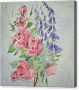 Roses And Digitalis Acrylic Print