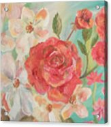 Roses And Flowers Acrylic Print