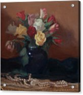 Roses And Pearls Acrylic Print