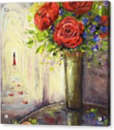 Roses And Woman Acrylic Print