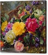 Roses By A Pond On A Grassy Bank  Acrylic Print by Albert Williams
