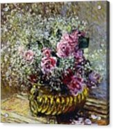 Roses In A Copper Vase Acrylic Print