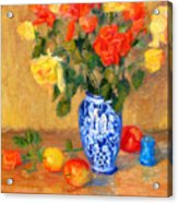 Roses In A Mexican Vase Acrylic Print