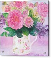 Roses In A Pink Floral Jug Acrylic Print