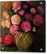 Roses In Brass Bowl Acrylic Print