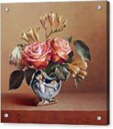 Roses In China Vase Acrylic Print