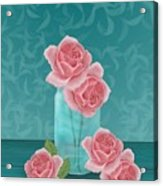 Roses In Clear Blue Jar Acrylic Print