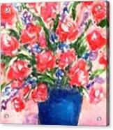 Roses On Blue Vase Acrylic Print