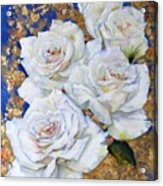 Roses With Gold Leaf Acrylic Print