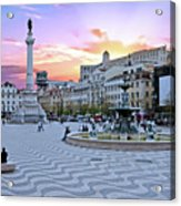 Rossio Square In Lisbon Portugal At Sunset Acrylic Print