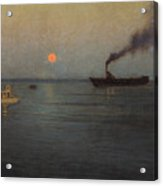 Rosy Moon Off Charleston Harbor Acrylic Print