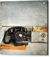 Rotary Dial Phone In Black S And H Stamps Acrylic Print
