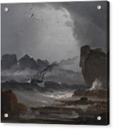 Rough Sea With A Steamer Near The Coast Of Norway Acrylic Print