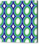 Round And Round Blue And Green- Art By Linda Woods Acrylic Print
