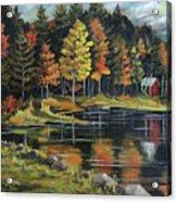 Round Pond Newbury Vermont Plein Air Acrylic Print