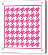 Rounded Houndstooth With Border In French Pink Acrylic Print