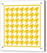 Rounded Houndstooth With Border In Mustard Acrylic Print