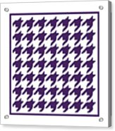 Rounded Houndstooth With Border In Purple Acrylic Print