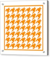 Rounded Houndstooth With Border In Tangerine Acrylic Print