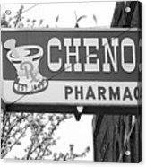 Route 66 - Chenoa Pharmacy Bw Acrylic Print