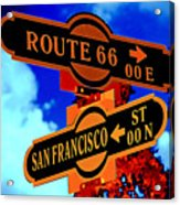 Route 66 Street Sign Stylized Colors Acrylic Print