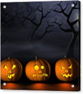 Row Of Halloween Pumpkins In A Spooky Forest At Night Acrylic Print