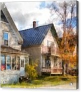 Row Of Houses Hardwick Vermont Watercolor Acrylic Print