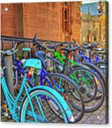 Row Of Student Bikes At Princeton University Nj Acrylic Print