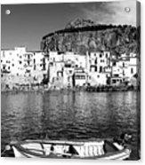 Rowboat Along An Idyllic Sicilian Village. Acrylic Print