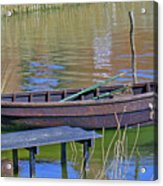 Rowboat And Blue Reflections Acrylic Print