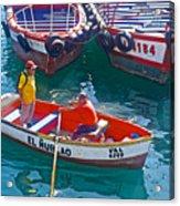 Rowboat In The Harbor At Port Of Valpaparaiso-chile Acrylic Print