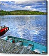 Rowboats On Lake At Dusk Acrylic Print by Elena Elisseeva