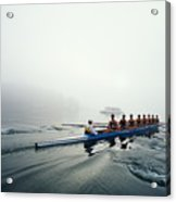 Rowing Team On Lake In Early Morning Fog Acrylic Print