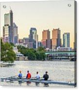 Rowing The Schuylkill - Philadelphia Cityscape Acrylic Print