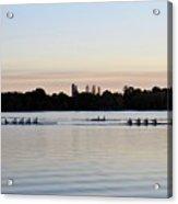 Rowing Under A Pastel Sky Acrylic Print
