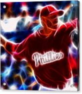 Roy Halladay Magic Baseball Acrylic Print by Paul Van Scott