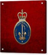 Royal Australian Navy -  R A N  Badge Over Red Velvet Acrylic Print