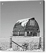 Royal Barn Winter Bnw Acrylic Print