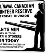 Royal Naval Canadian Volunteer Reserve Acrylic Print by War Is Hell Store