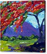 Royal Poinciana Palette Oil Painting Acrylic Print
