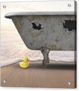 Rubber Ducky Bathtub Beach Surreal Acrylic Print