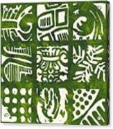 Rubbing Patterns Linocut Acrylic Print