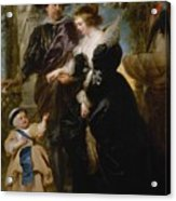 Rubens His Wife Helena Fourment 16141673 And Their Son Frans 16331678 Acrylic Print